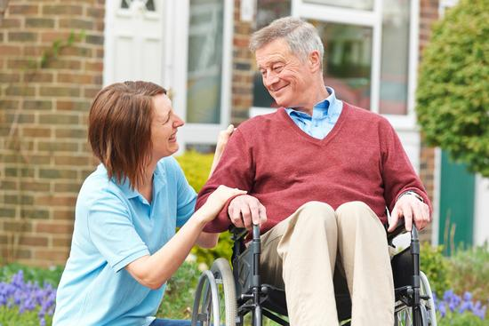 Home care services in Wirral. Reablement and domiciliary care. Man in wheelchair.